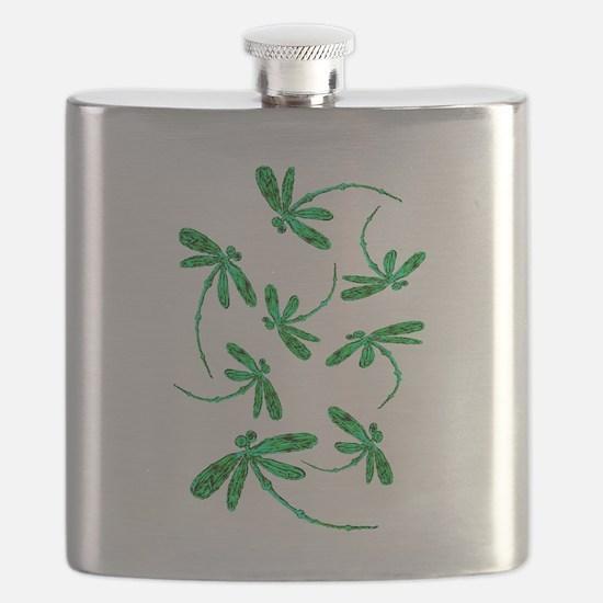 Dragonflies Neon Green Flask