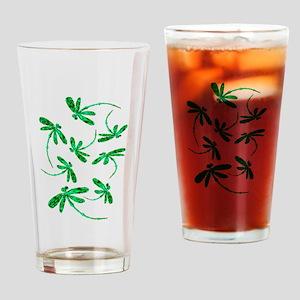 Dragonflies Neon Green Drinking Glass