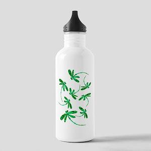 Dragonflies Neon Green Sports Water Bottle