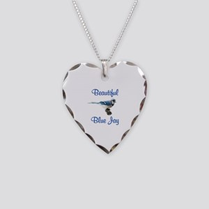 Beautiful Blue Jay Necklace Heart Charm