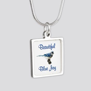 Beautiful Blue Jay Silver Square Necklace