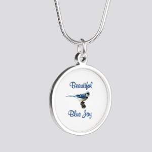Beautiful Blue Jay Silver Round Necklace