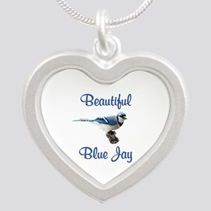 Beautiful Blue Jay Silver Heart Necklace