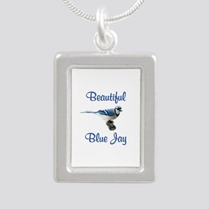 Beautiful Blue Jay Silver Portrait Necklace