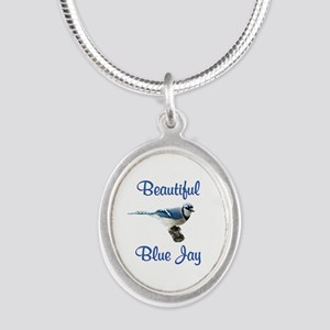 Beautiful Blue Jay Silver Oval Necklace
