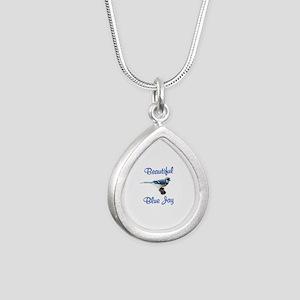 Beautiful Blue Jay Silver Teardrop Necklace