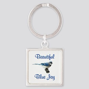 Beautiful Blue Jay Square Keychain