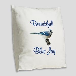 Beautiful Blue Jay Burlap Throw Pillow