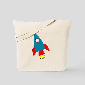 Cartoon Rocket Ship Tote Bag