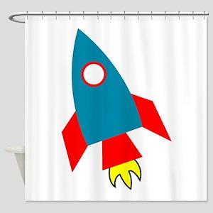 Cartoon Rocket Ship Shower Curtain