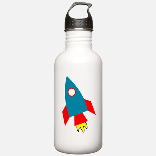 Cartoon Rocket Ship Water Bottle