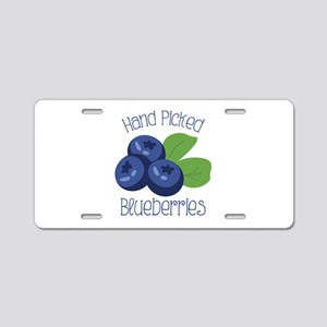 Hand Picked Blueberries Aluminum License Plate