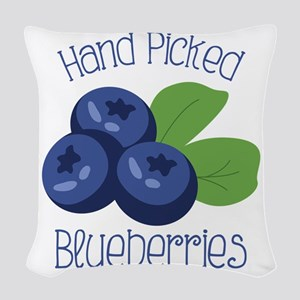 Hand Picked Blueberries Woven Throw Pillow