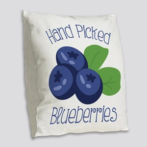Hand Picked Blueberries Burlap Throw Pillow
