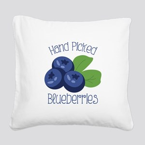 Hand Picked Blueberries Square Canvas Pillow