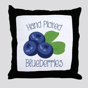 Hand Picked Blueberries Throw Pillow