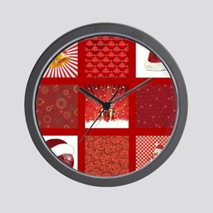 CHRISTMAS CRAZY QUILT Wall Clock
