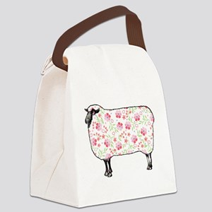 Floral Sheep Canvas Lunch Bag