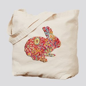 Colorful Floral Easter Bunny Tote Bag