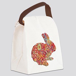 Colorful Floral Easter Bunny Canvas Lunch Bag