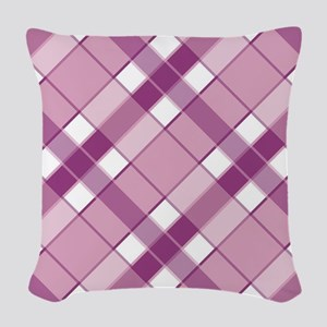 PURPLE AND LAVENDER PLAID Woven Throw Pillow