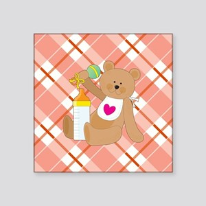 """BABY BEAR WITH BOTTLE Square Sticker 3"""" x 3"""""""