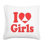I Heart Girls Square Canvas Pillow