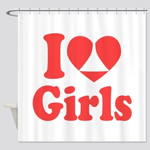 I Heart Girls Shower Curtain