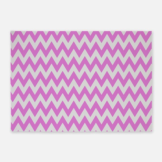 Pink And Grey Chevron 5 X7 Area Rug