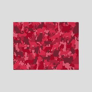 Pink Camo Cats 5'x7'Area Rug
