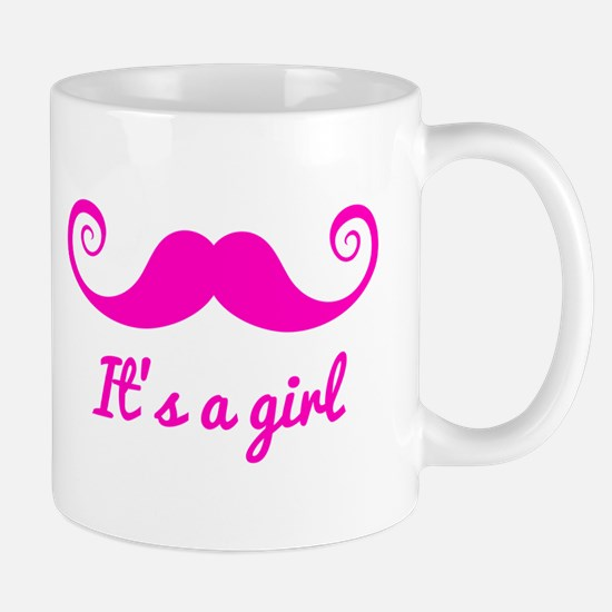 its a girl design with pink mustache Mugs