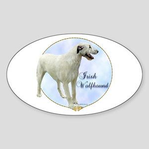 Wolfhound Portrait Oval Sticker