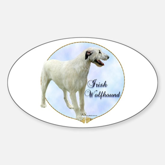 Wolfhound Portrait Oval Decal