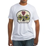 Heart and Flowers Half Skull Fitted T-Shirt