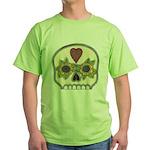 Heart and Flowers Half Skull Green T-Shirt