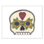 Heart and Flowers Half Skull Small Poster