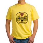 Heart and Flowers Half Skull Yellow T-Shirt