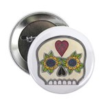"""Heart and Flowers Half Skull 2.25"""" Button"""