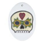 Heart and Flowers Half Skull Oval Ornament