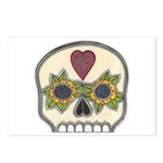 Heart and Flowers Half Skull Postcards (Package of