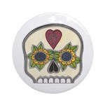 Heart and Flowers Half Skull Ornament (Round)