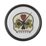 Heart and Flowers Half Skull Large Wall Clock