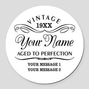 Personalize Funny Birthday Round Car Magnet