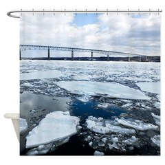 Bridge On Icy Hudson River Shower Curtain
