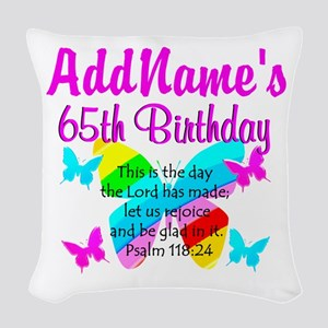 REJOICING 65TH Woven Throw Pillow