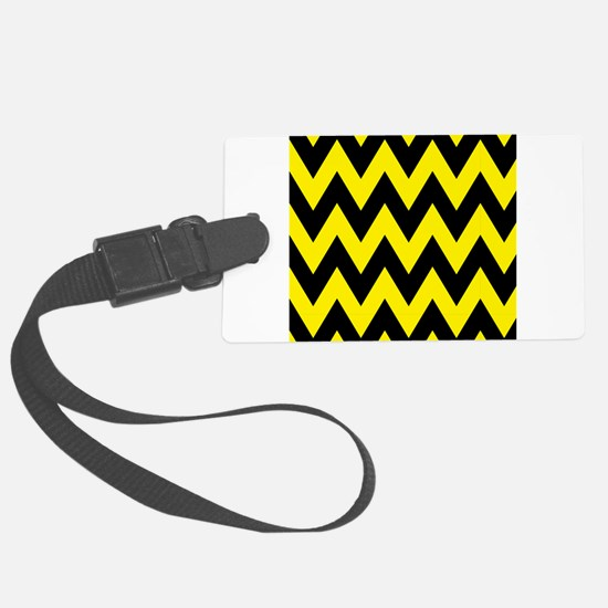 Yellow and Black Bumblebee Chevron Luggage Tag