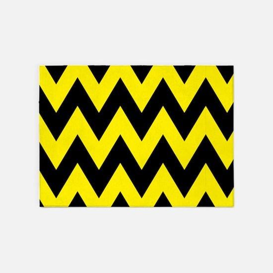 Yellow and Black Bumblebee Chevron 5'x7'Area Rug