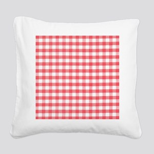 Red Gingham Square Canvas Pillow