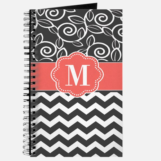 Gray Coral Chevron Monogram Journal