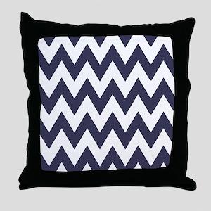 Blue and White Chevron Zig Zag Throw Pillow